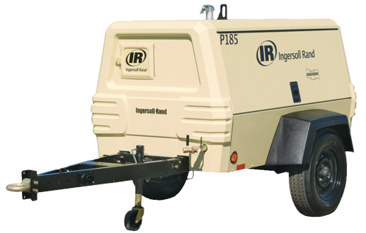 Large portable compressor with trailer hitch, show from the front left